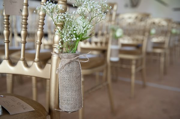 hessian bottles aisle decor flowers DIY Lillibrooke Manor Wedding http://fionasweddingphotography.co.uk/