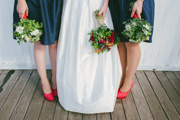 Navy Bridesmaid Dresses Red Green Bouquets Stylish Party Wedding on a Ship http://www.lisadevinephotography.co.uk/