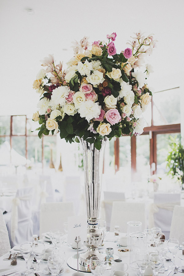 Tall flower arrangement Classic Elegant Pink Wedding http://www.annahardy.co.uk/