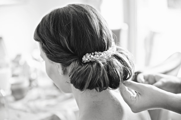 Chic Bride Up Do Hair Bright Tea Party Yellow Wedding http://www.gemmawilliamsphotography.co.uk/
