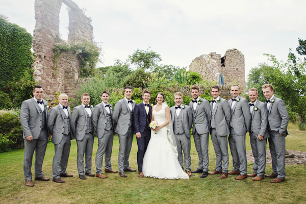 Groomsmen grey suits bow ties Bright Tea Party Yellow Wedding http://www.gemmawilliamsphotography.co.uk/
