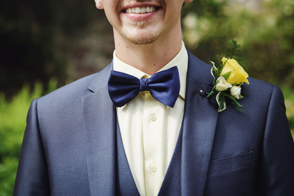 Bow Tie Groom Bright Tea Party Yellow Wedding http://www.gemmawilliamsphotography.co.uk/