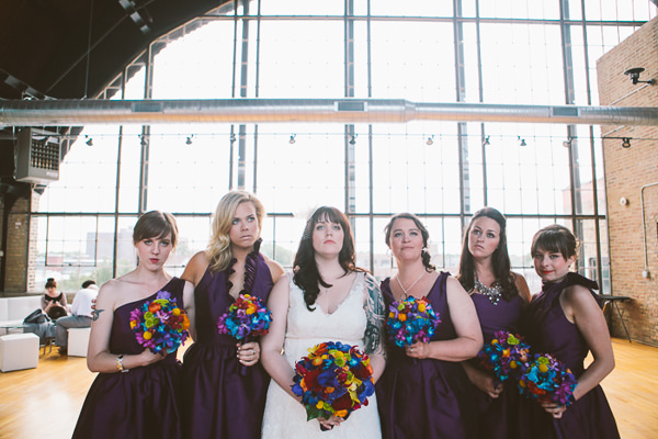 Purple bridesmaid dresses Urban Industrial Wedding in Chicago http://www.jwileyphotography.com/