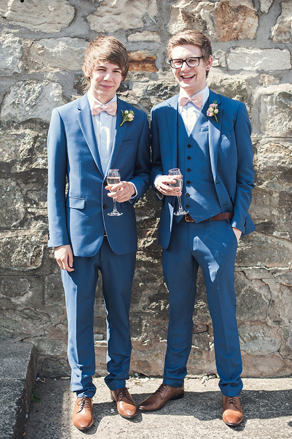 Reiss Suit Bow Tie Groom Pink & Blue Seaside Wedding http://www.samwilliamsonphoto.co.uk/