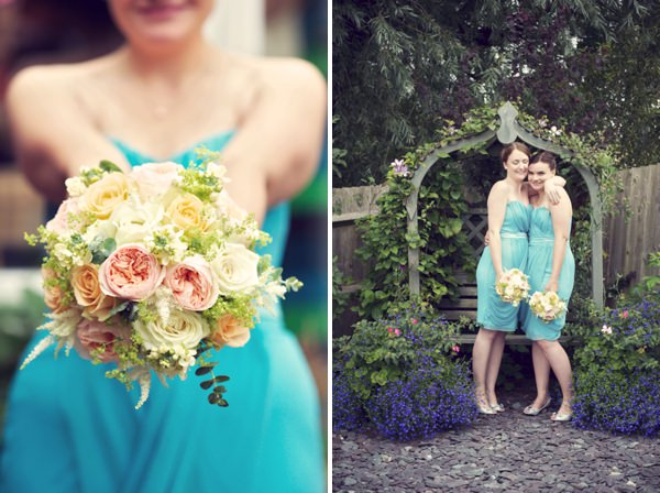 Turquoise Bridesmaids Stylish Fun Humanist Wedding http://www.ruby-roux.com/