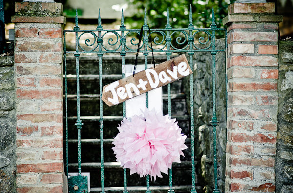 DIY Sign Pom Pom Romantic Tuscany Wedding http://stealthestagephotography.blogspot.co.uk/
