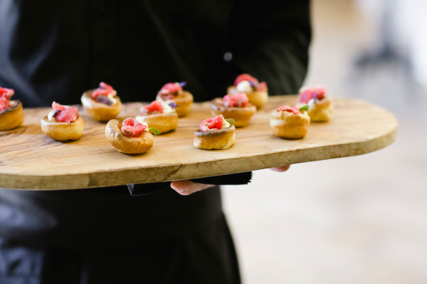 Chic Black Tie Hampton Court House Wedding Canapes http://www.clairestelle.com/