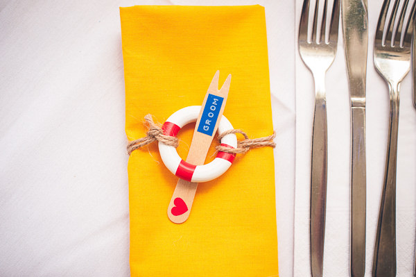 Seaside Place Settings Nautical Colourful Pirate Wedding http://www.mariannechua.com/