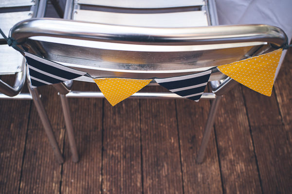 Chair Bunting Nautical Colourful Pirate Wedding http://www.mariannechua.com/