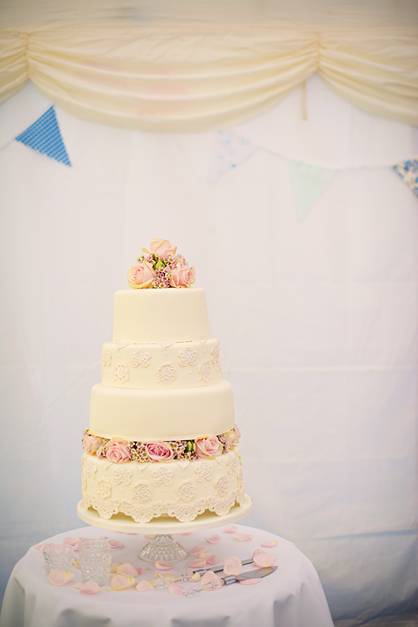 Pretty Pink Summer Marquee Wedding White Pink Rose Cake http://www.photographybyvicki.co.uk/blog/
