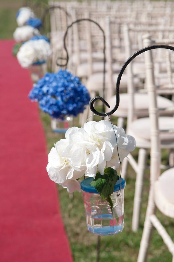 Chic & Relaxed Country Rustic Wedding Hydrangea Aisle Flowers http://www.sarareeve.com/