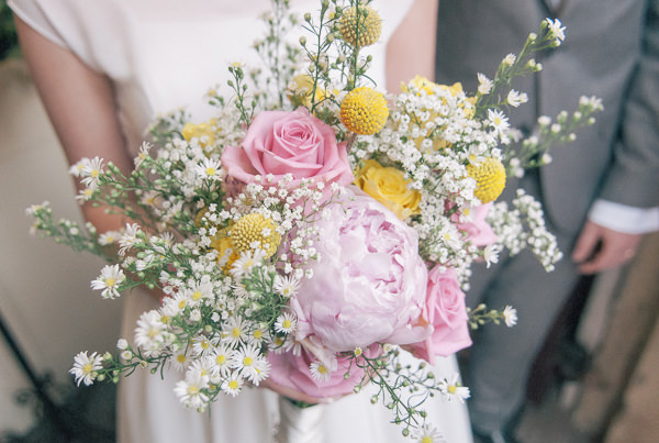 Sweet & Pretty Homemade Wedding Pink Yellow Daisy Bouquet http://www.tohave-toholdphotography.co.uk/