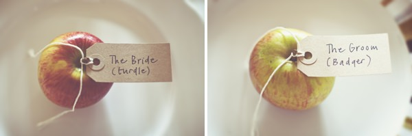 DIY Village Hall Wedding Apple Place Settings http://www.onloveandphotography.com/