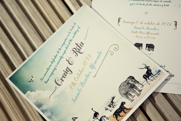 Magical Turquoise Beach Wedding Animal Stationery http://www.mariannetaylorphotography.co.uk/