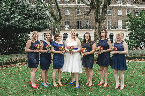 Multicoloured London Quirky Wedding Blue Bridesmaids Colour Pop Shoes http://www.kat-hill.com/