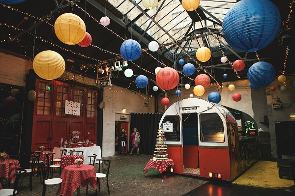 Multicoloured London Quirky Wedding Industrial Decor http://www.kat-hill.com/