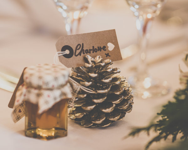 Earthy Cosy Kent Wedding Pine Cones Place Names http://www.katehennessyphotography.com/