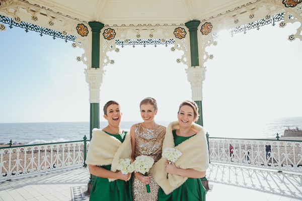 Brighton Sea Front Sequin Glitter Wedding Emerald Green Bridesmaid Dresses http://www.redonblonde.com/