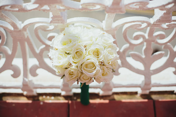 Brighton Sea Front Sequin Glitter Wedding White Rose Bouquet http://www.redonblonde.com/