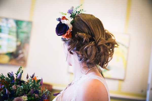 Simple Homemade Green & Purple Wedding Rusic Bridal Hair Style Flowers http://www.robdodsworth.co.uk/