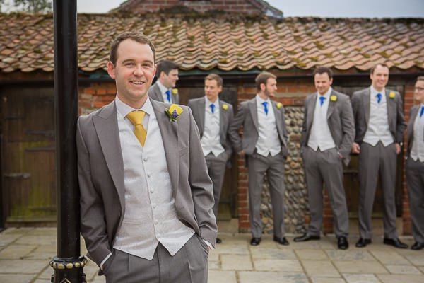 Blue Yellow Spring Wedding Yellow Tie Grey Suit Groom http://www.fullerphotographyweddings.co.uk/