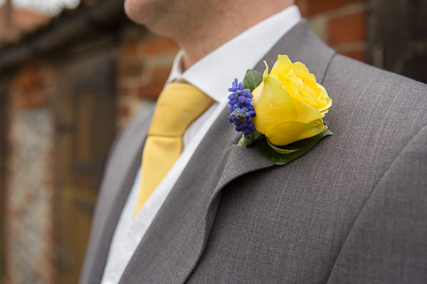Blue Yellow Spring Wedding Buttonhole http://www.fullerphotographyweddings.co.uk/