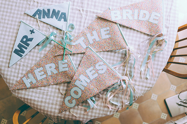 Eclectic Colourful Quirky Village Hall Wedding Here Comes The Bride Flags http://missgen.com/