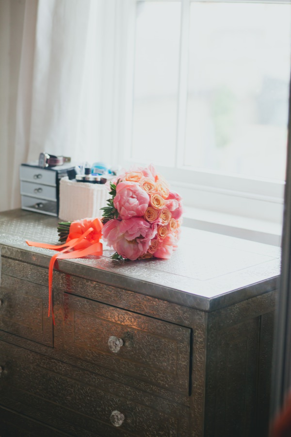 Coral Afternoon Tea Wedding Peonies Rose Bridal Bouquet http://www.daleweeksphotography.co.uk/