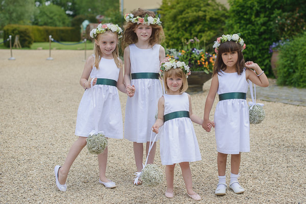 Coral & Green Rustic Wedding Flowergirls http://www.riamishaal.com/