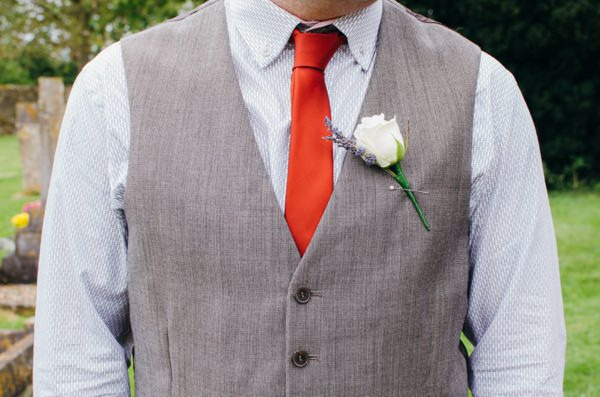 Homely Relaxed Sunflower Wedding Waistcoat Groom Red Tie http://www.babbphoto.com/