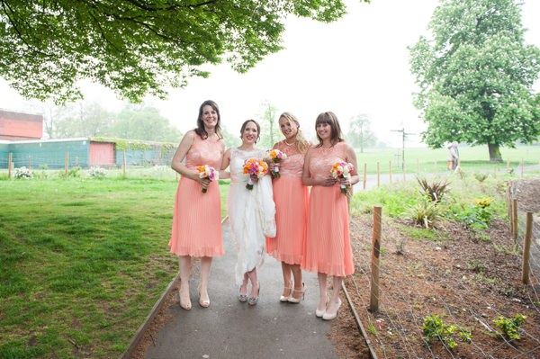 Multicoloured Pom Pom Lido Cafe Wedding Coral Bridesmaids http://fionasweddingphotography.co.uk/