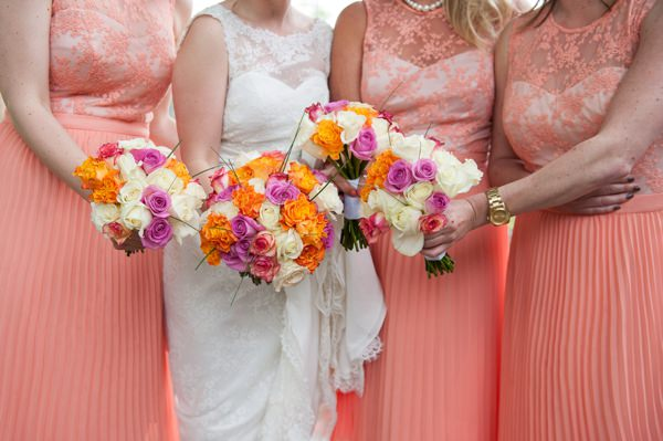 Multicoloured Pom Pom Lido Cafe Wedding Rose Bouquets Orange Pink http://fionasweddingphotography.co.uk/
