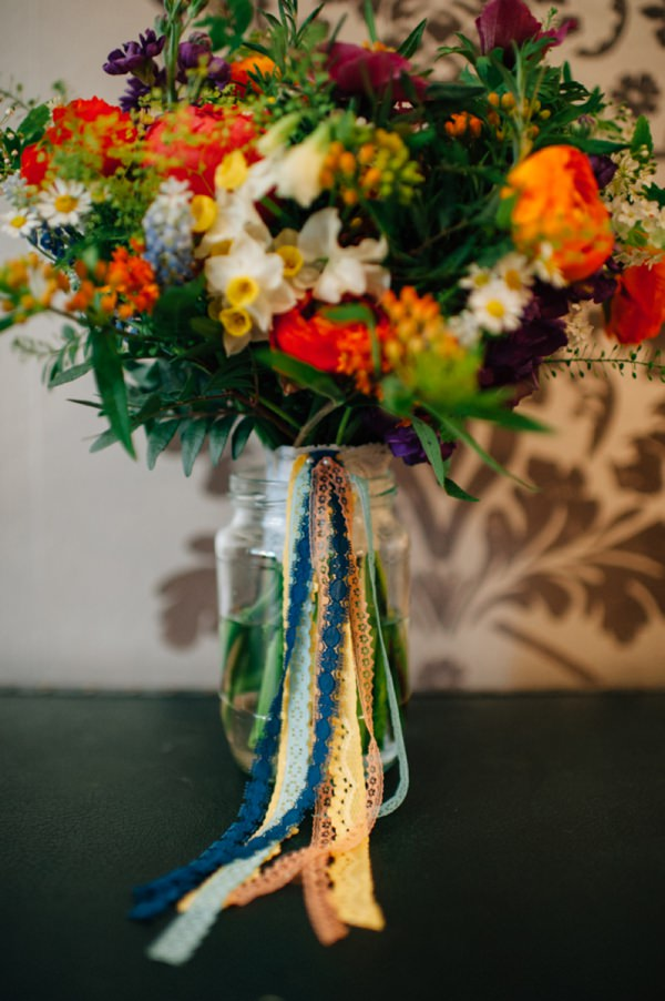 Colourful City Hall Wedding Wild Natural Ribbon Bouquet Bridal http://www.lisadevinephotography.co.uk/