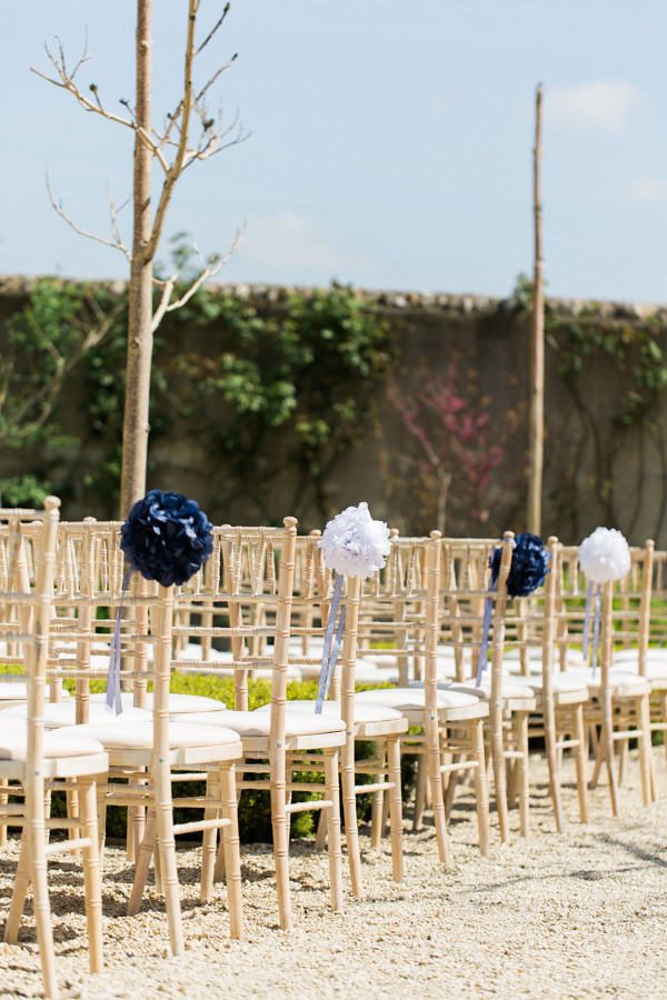 Stylish Relaxed Country Wedding Pom Pom Chairs Aisle http://www.lisadawn.co.uk/