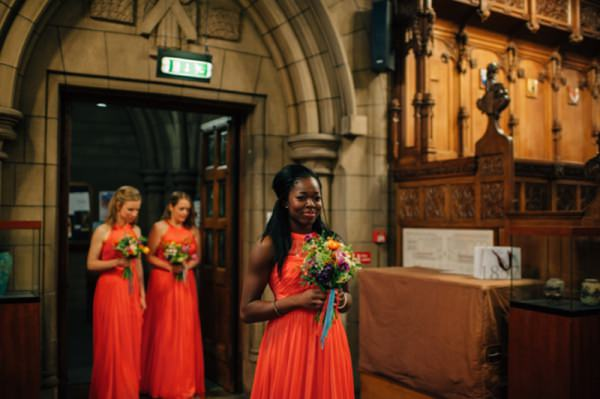 Colourful City Hall Wedding Orange Red Bridesmaids http://www.lisadevinephotography.co.uk/