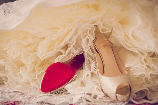 Christian Louboutin Glitter Gold Shoes Bride Wedding http://www.marcsmithphotography.com/
