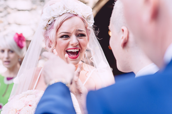 Marie Antoinette Pink Wedding Pink Hair Bride Flower Crown Veil http://www.annapumerphotography.com/