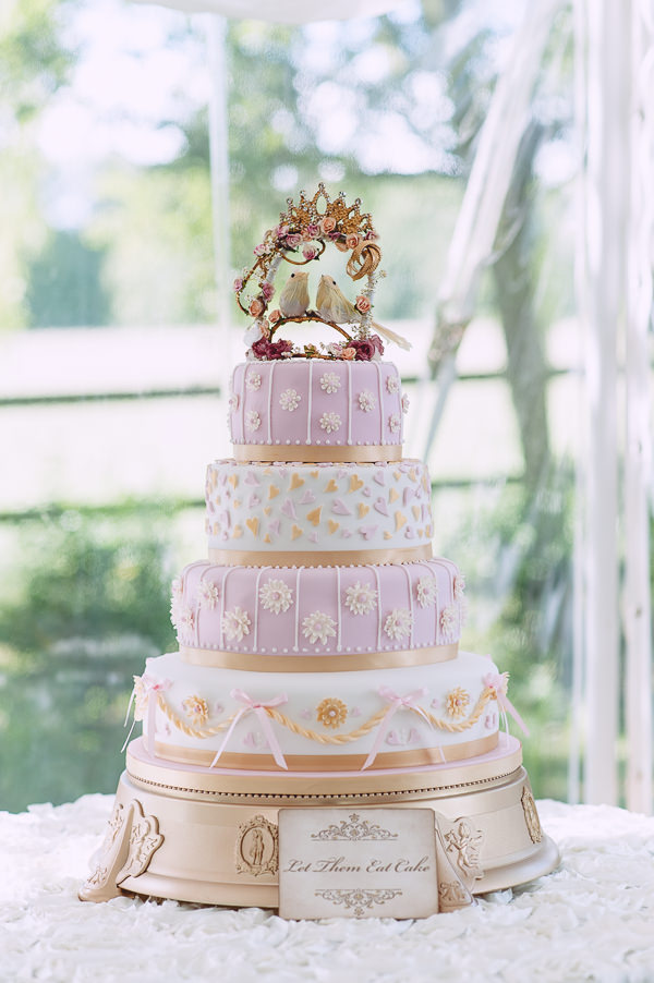 Marie Antoinette Pink Gold Wedding Cake http://www.annapumerphotography.com/