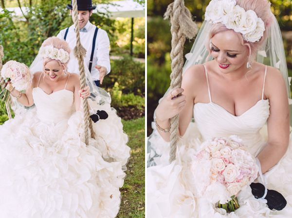Marie Antoinette Pink Wedding Hair Bride http://www.annapumerphotography.com/