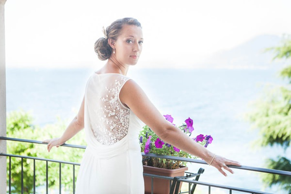 Lake Garda Destination Wedding Sheer Back Detail Dress Bride http://www.carolinepotterphoto.com/