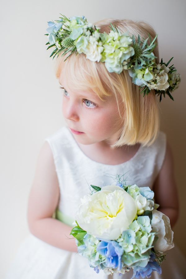 Fresh Fun Relaxed Blue & Green Wedding Flower Gril Bouquet Flower Crown http://www.katherineashdown.co.uk/