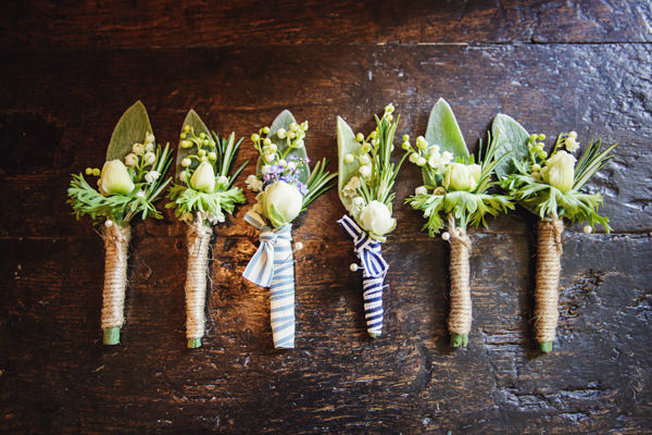Dinner Party Midsummer Night's Dream Wedding Rustic Buttonholes http://www.gemmawilliamsphotography.co.uk/