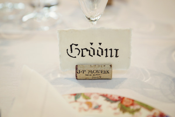 Dinner Party Midsummer Night's Dream Wedding Calligraphy Place Names Corks http://www.gemmawilliamsphotography.co.uk/