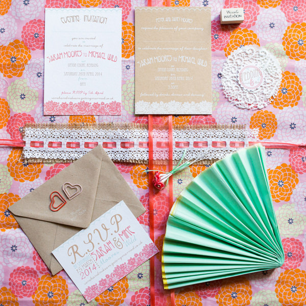 Stylish Rustic Coral Barn Wedding Stationery http://hayleysavagephotography.co.uk/