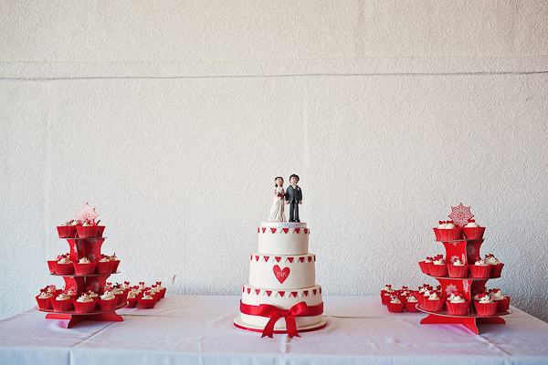 Funfair Farm DIY Wedding Cake Table Red White http://www.kathrynedwardsphotography.com/