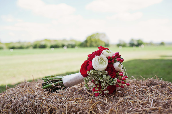 Funfair Farm DIY Wedding Red White Bridal Bouquet http://www.kathrynedwardsphotography.com/
