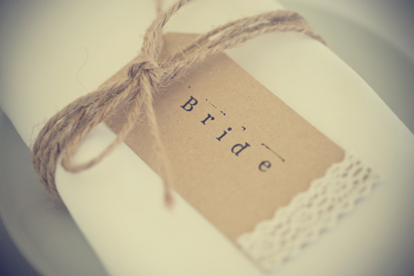 Outdoorsy Rustic Farm Wedding Lace Twine Luggage Tag Place Name http://www.photoinspiration.co.uk/