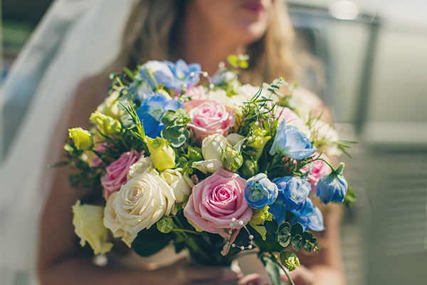 Charming Homemade Blue Wedding Pink Blue Rose Bridal Bouquet http://www.lifelinephotography.co.uk/