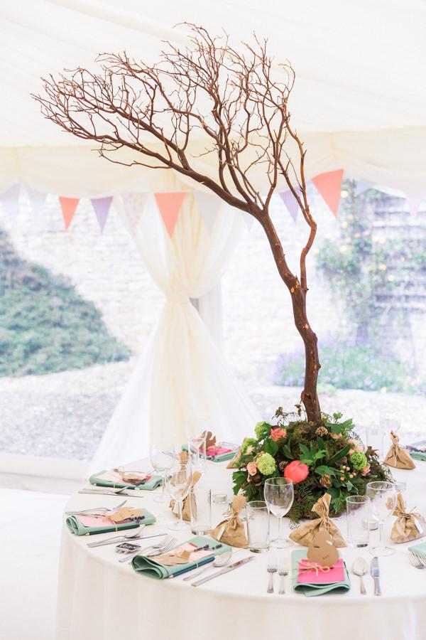 Whimsical Woodland Fairytale Wedding Tree Centrepiece Tables http://www.lisadawn.co.uk/