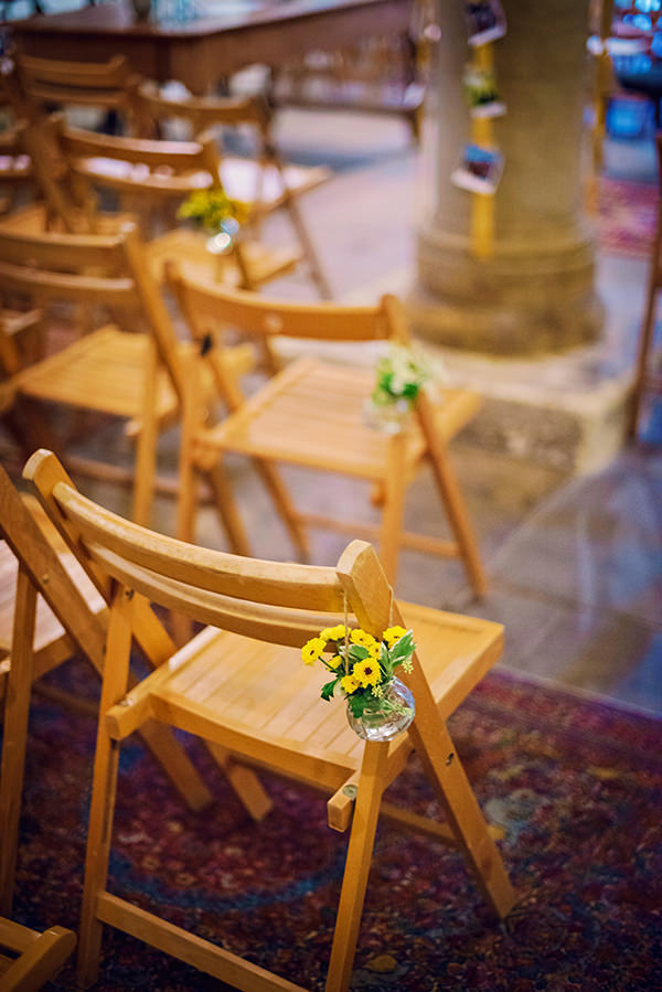 Multicolour Homemade Wedding Aisle Chair Flowers http://www.photographybyvicki.co.uk/blog/